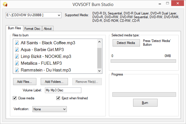 Click to view Burn Studio screenshots