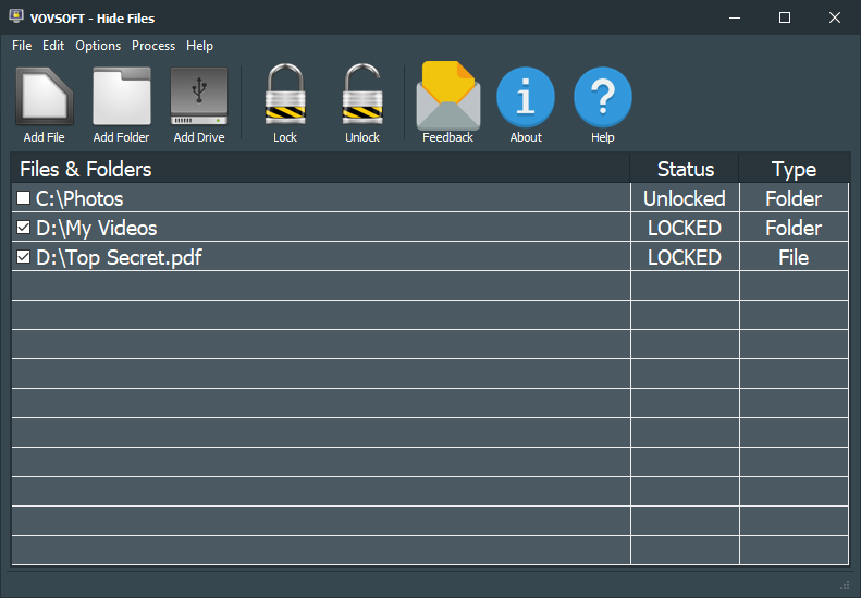 Lock your files and folders from prying eyes. latest Screen Shot