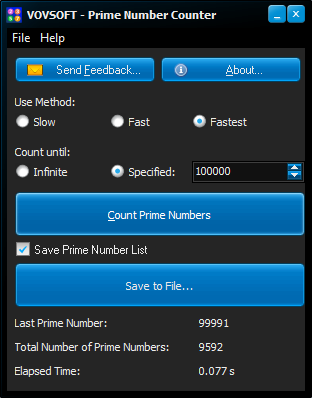 Prime Number Counter Screen shot