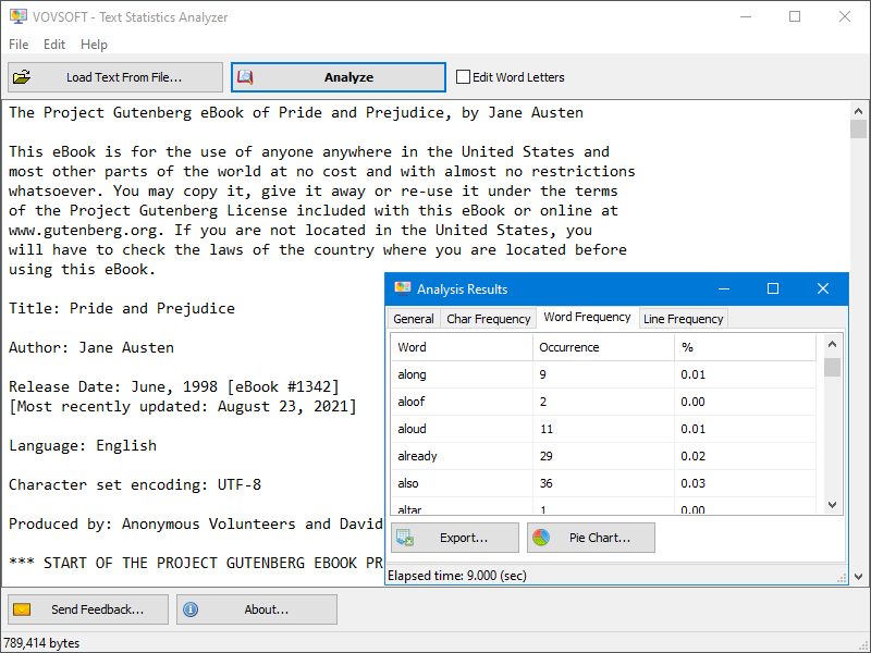 Text Statistics Analyzer Screen shot