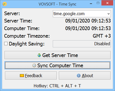 Time Sync Screen shot