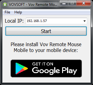 Turn your mobile device into a mouse.