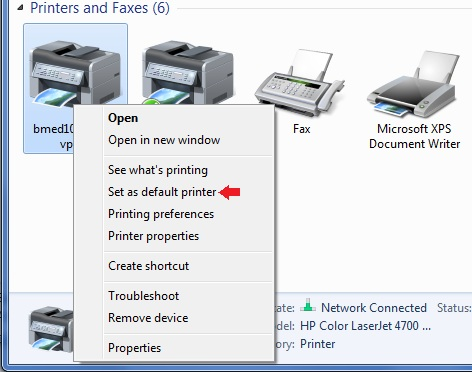 How to change default printer