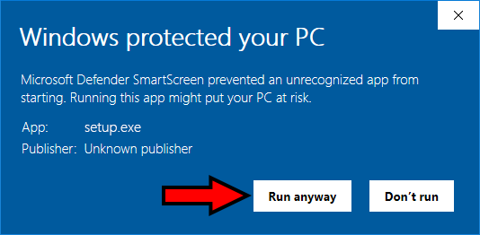Windows protected your PC Click 2nd